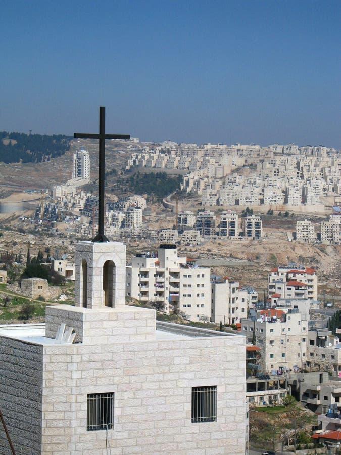 Cross in Bethlehem stock image