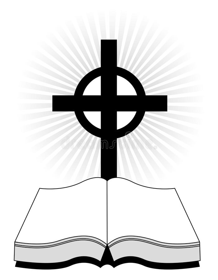 Cross and bible vector illustration