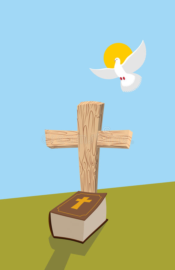 Cross and Bible. Christian grave. Soul of man in form of white d stock illustration