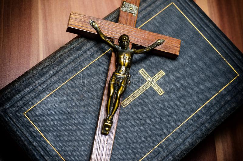 Cross and the Bible royalty free stock image