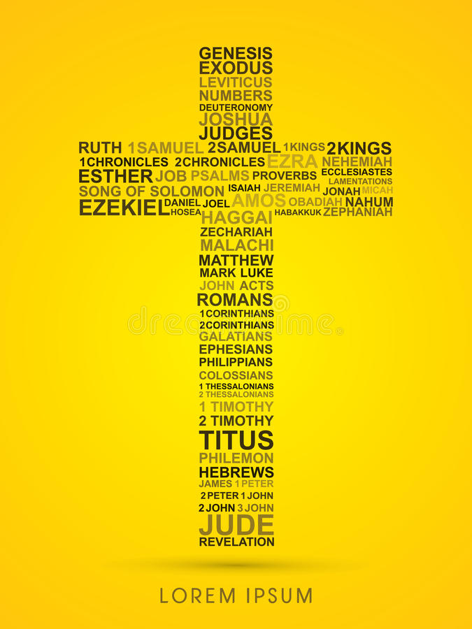 Cross with bible words genesis to revelation. Graphic vector vector illustration