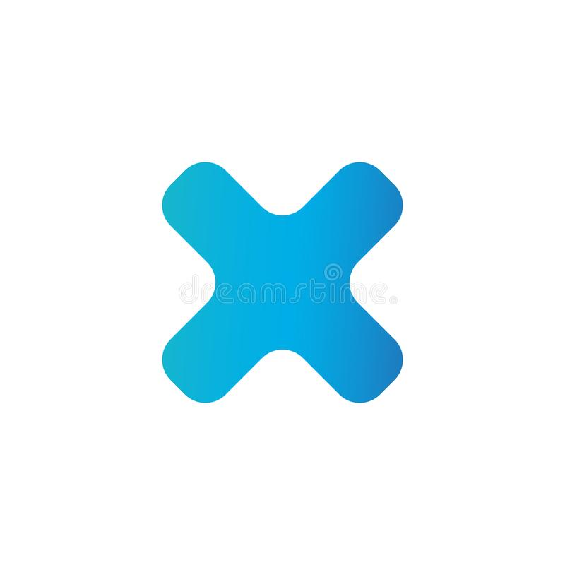 Cross blue icon isolated on white background. Symbol No or X button for correct, vote, check, not approved, error, wrong and stock illustration