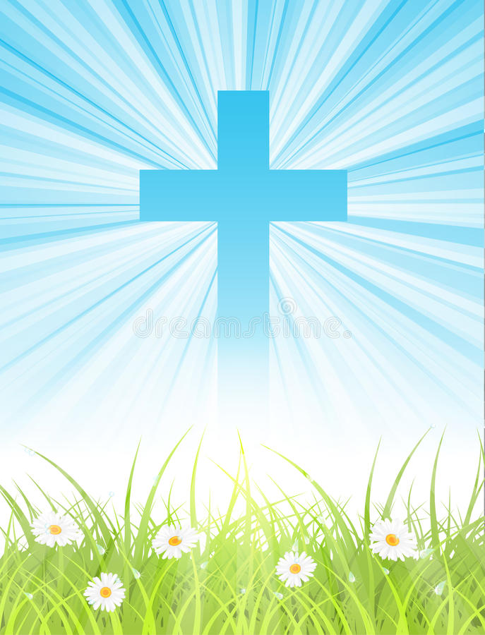 Cross on blue sky, with sun rays and green lawn royalty free illustration