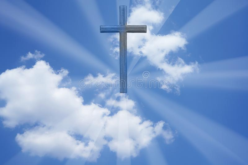 Cross and blue sky and white cloud for background royalty free stock image