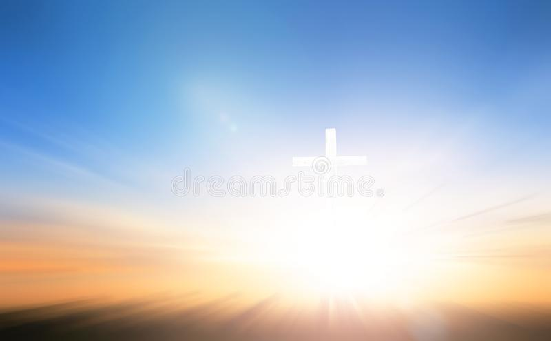 Cross on blurred sky background. Christian concept background:Eucharist Therapy Bless God Helping Repent Catholic Easter Lent Mind Pray stock image