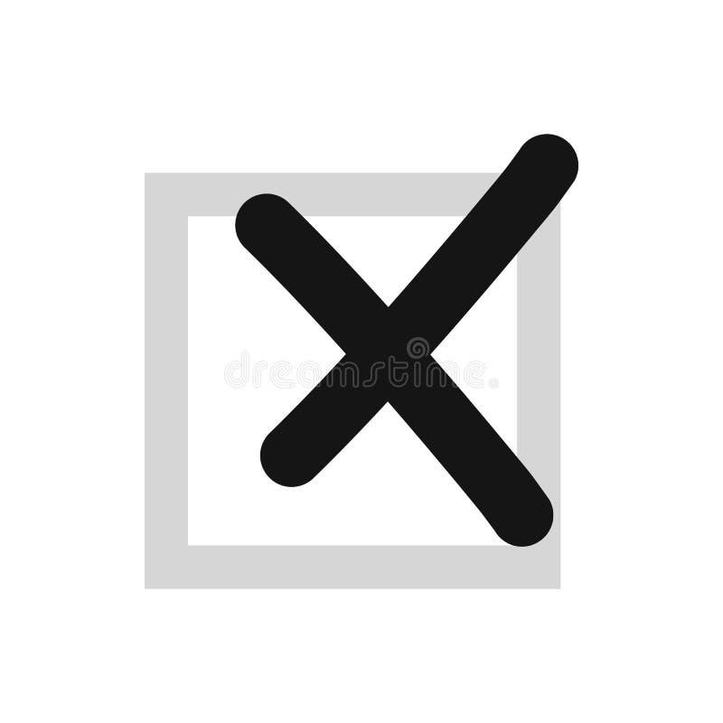 Cross in box icon, flat style stock illustration