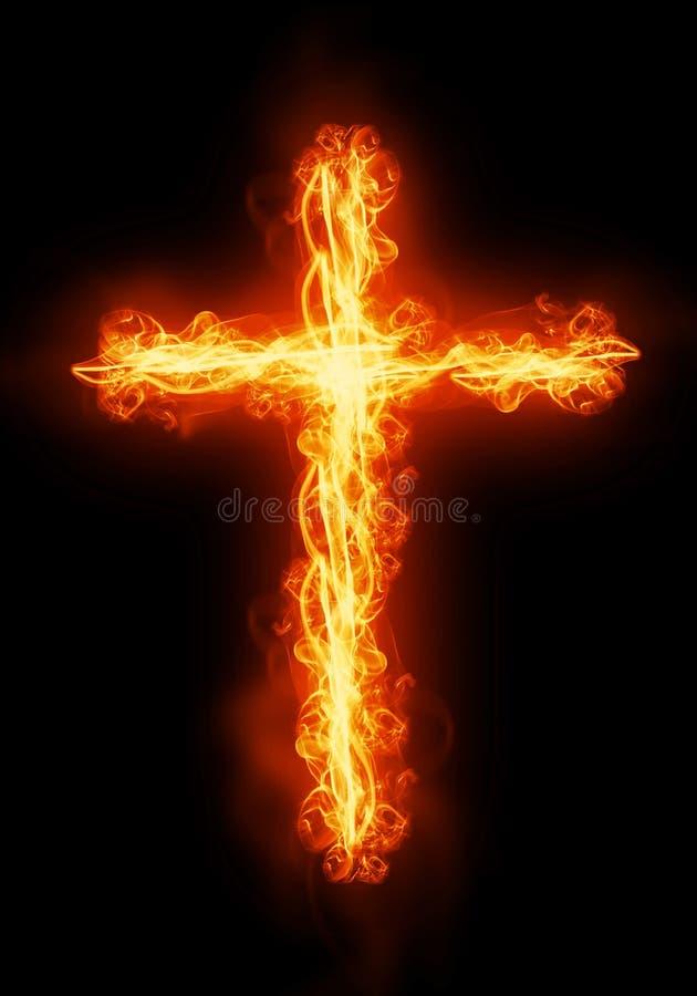 Cross burning in fire royalty free illustration