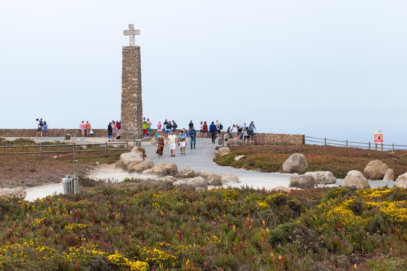 Cross on Cabo da Roca, Portugal stock photo