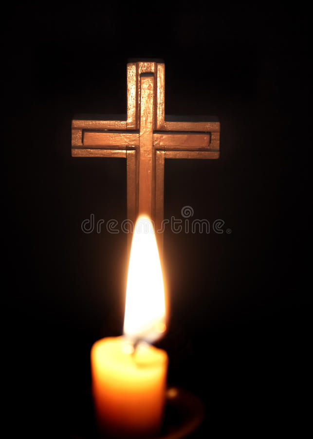 Cross and candles stock images