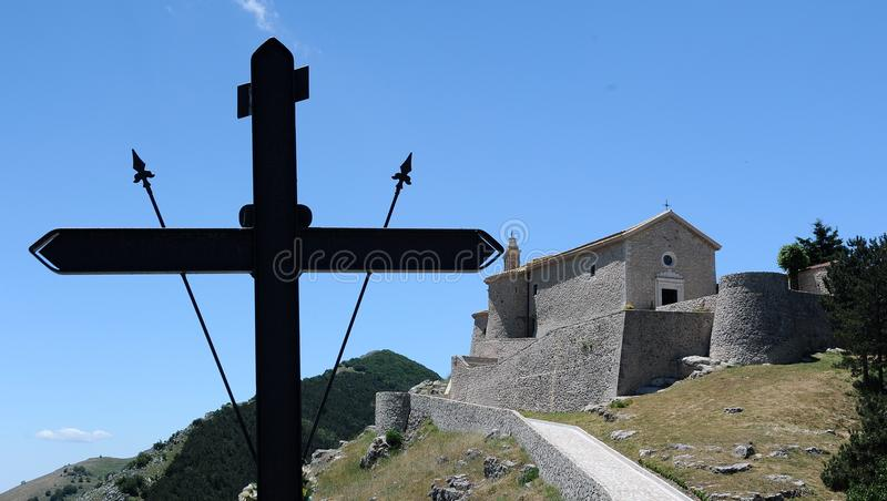 Cross and castle royalty free stock photography