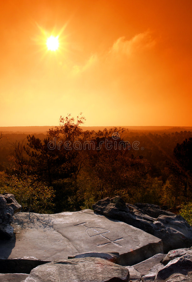 Cross and chalice in french forest royalty free stock images