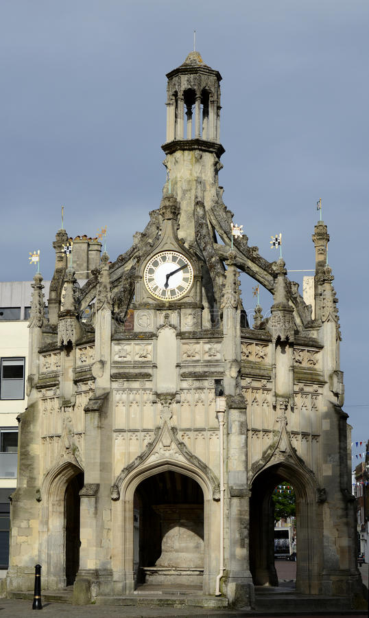 The Cross at Chichester. England. Market Cross and clock in the center of Chichester. West Sussex. England royalty free stock photography