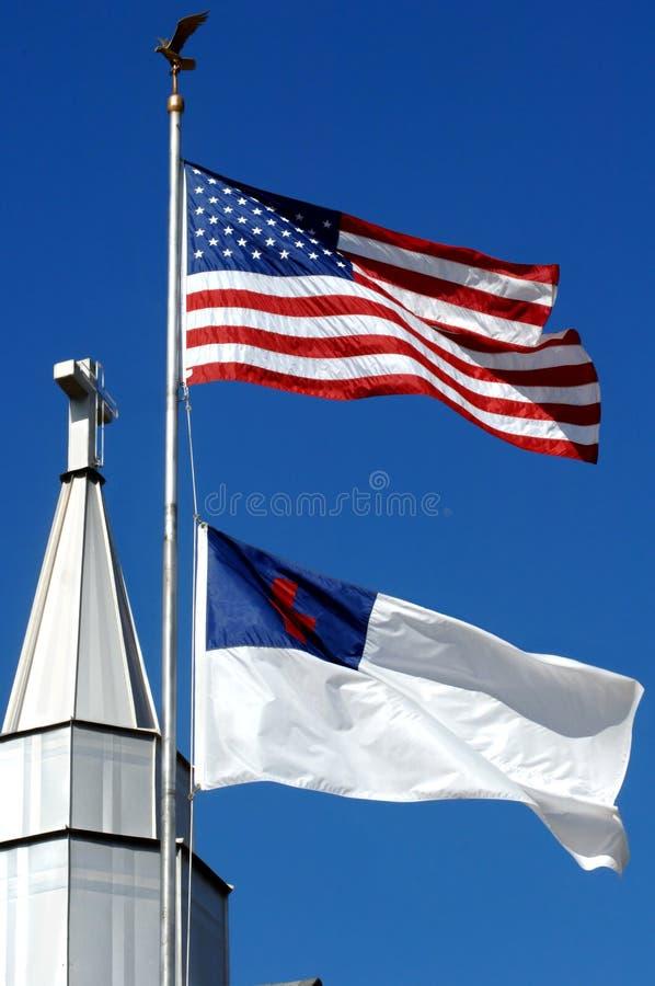 Cross and Christian Flag stock image