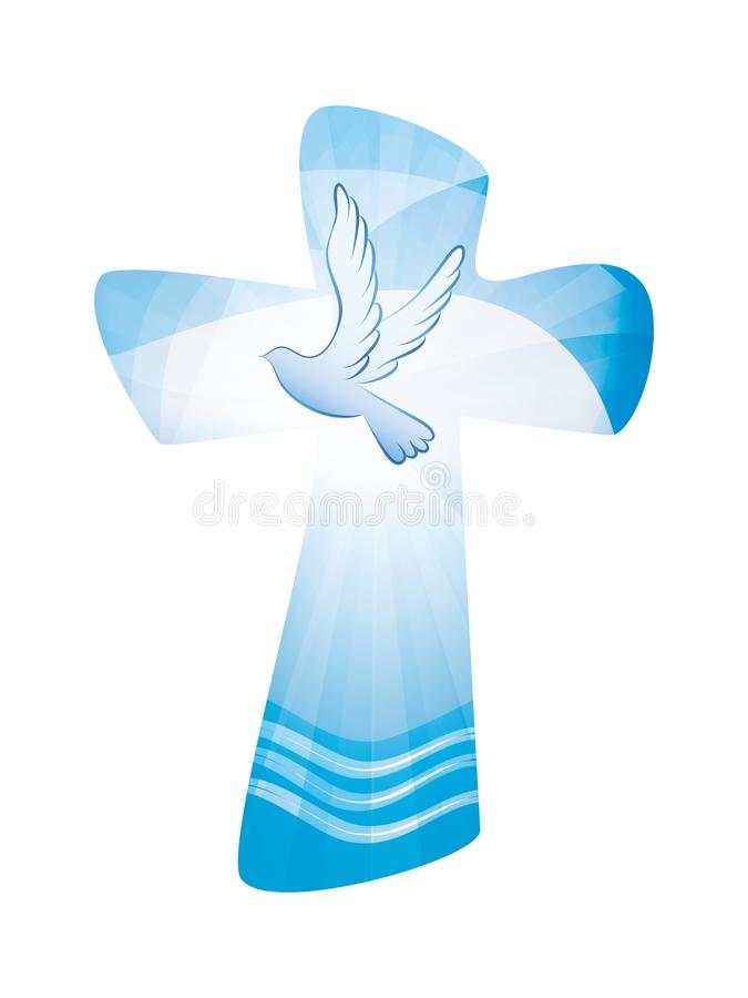 Baptism Christian Cross Whit Waves Of Water And Dove On Blue