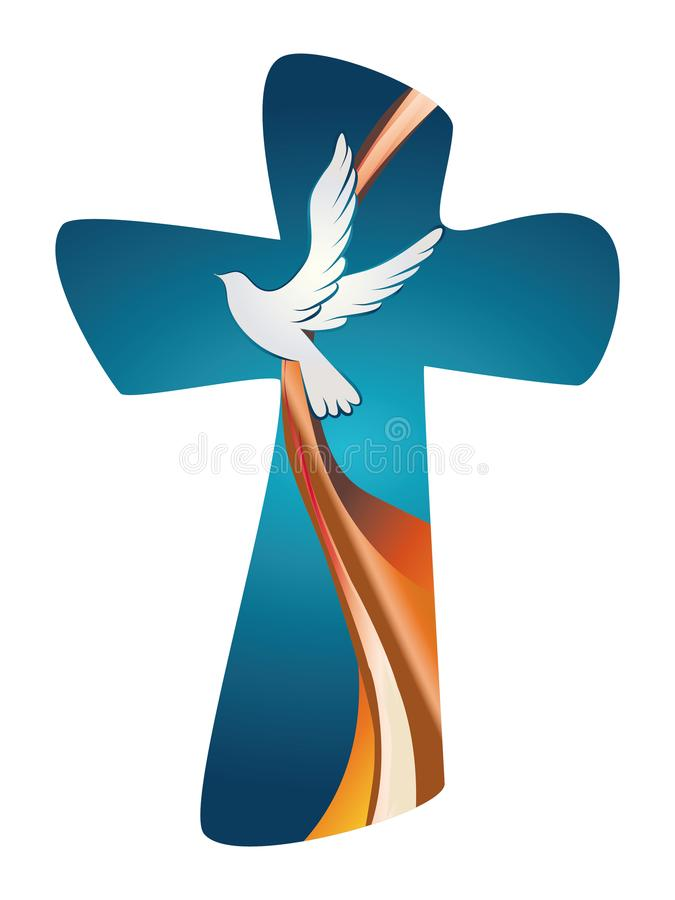 Holy Spirit symbol. Christian cross with dove on blue background royalty free stock image