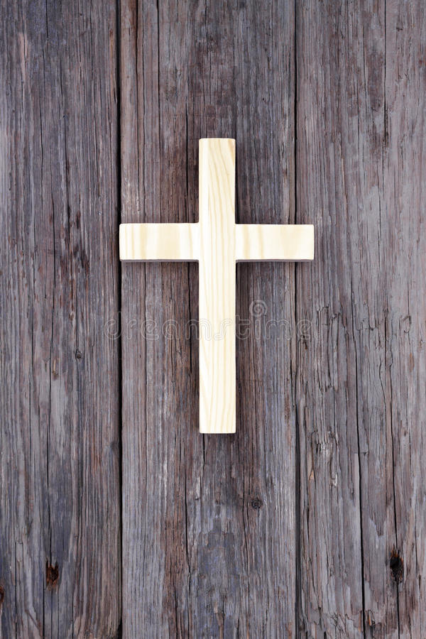 Cross christian wooden wall old church stock photography