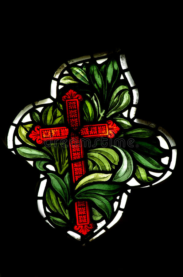 The cross of Christianity (stained glass). A photo of The cross of Christianity (stained glass stock photo