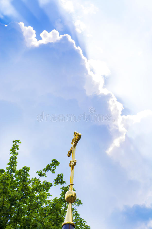 Cross on the church against the sky royalty free stock images
