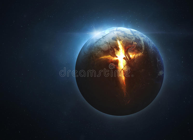 Cross coming from earth royalty free stock image