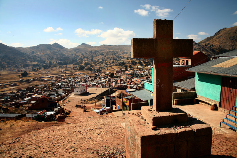 Cross in Copacabana, Bolivia royalty free stock photo