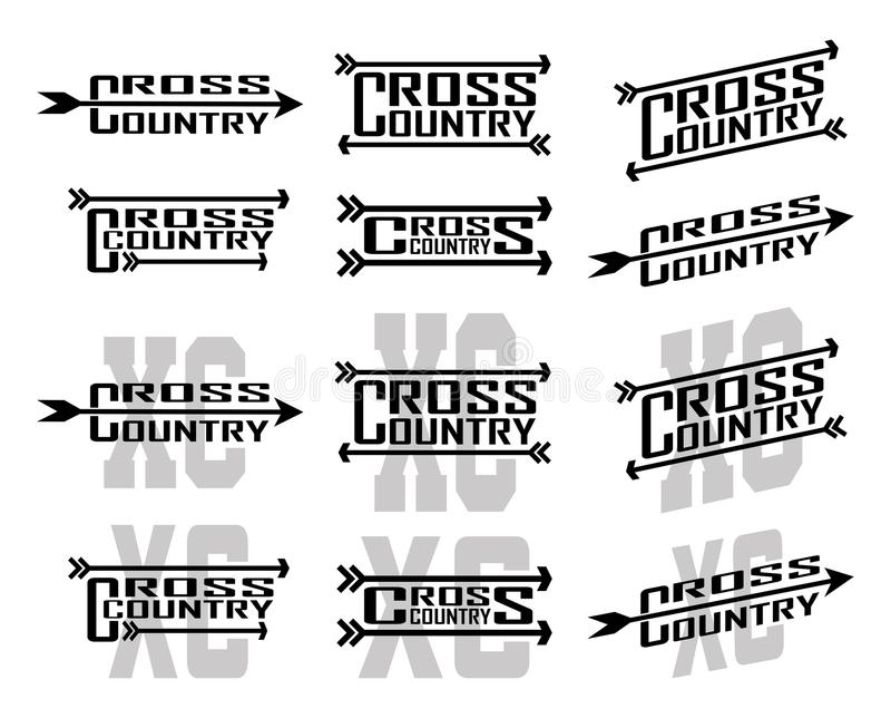 Cross Country Designs. Is an illustration of twelve designs for cross country runners in schools, clubs and races. Great for t-shirt, flyers and school designs royalty free illustration