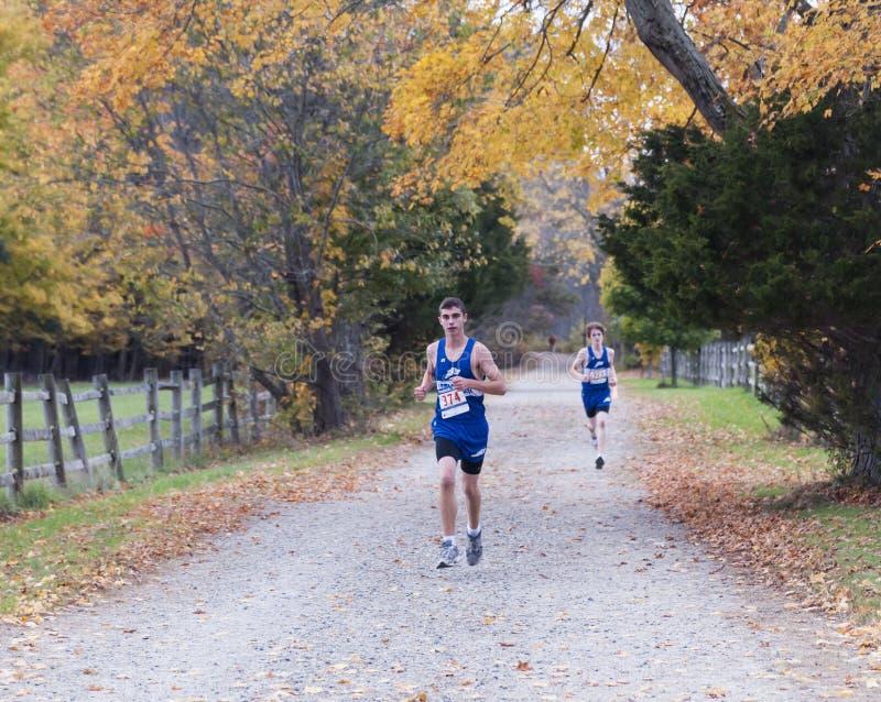 Cross Country-Läufer langer Straightaway stockfoto