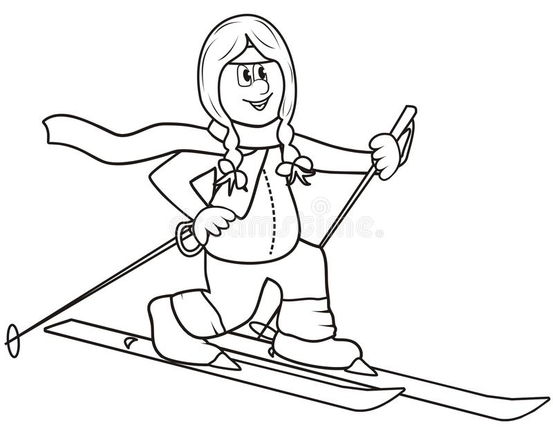 Cross country lady coloring book stock vector for Country girl coloring pages