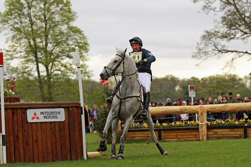 Cross country refusal. Matthew Wright and Well Spotted refuse Shogun Hollow at the Badminton Horse Trials ist May 2010 stock photo
