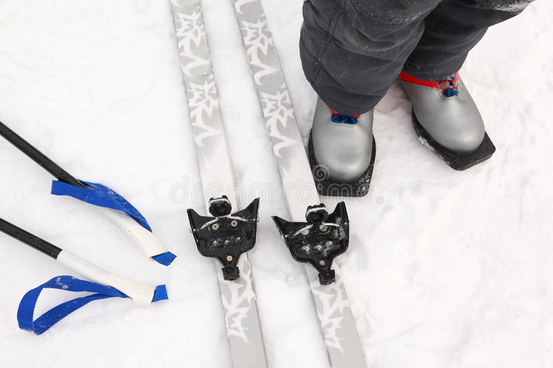 Download Cross-country Ski And Boots Of Boy Stock Photo - Image of resort, leisure: 19153014