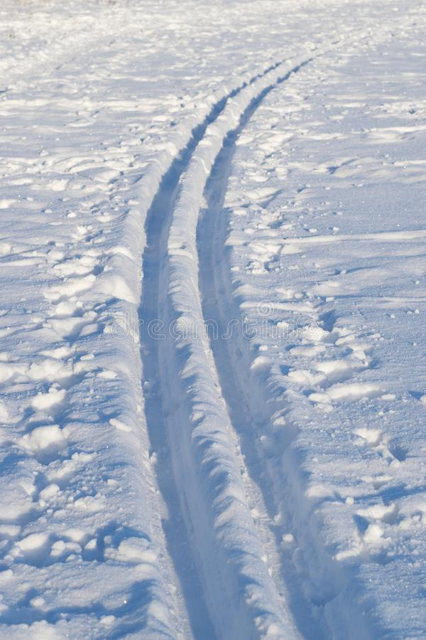 Cross-country ski tracks royalty free stock photos