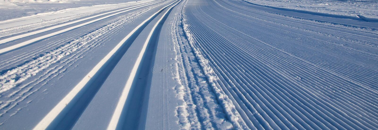 Cross country ski tracks royalty free stock image