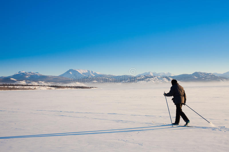 Cross-Country Skier Long Shadow Royalty Free Stock Photography