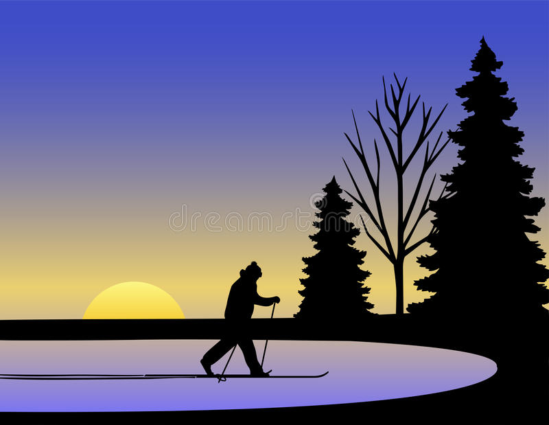 Cross Country Skier Winter/eps stock photography