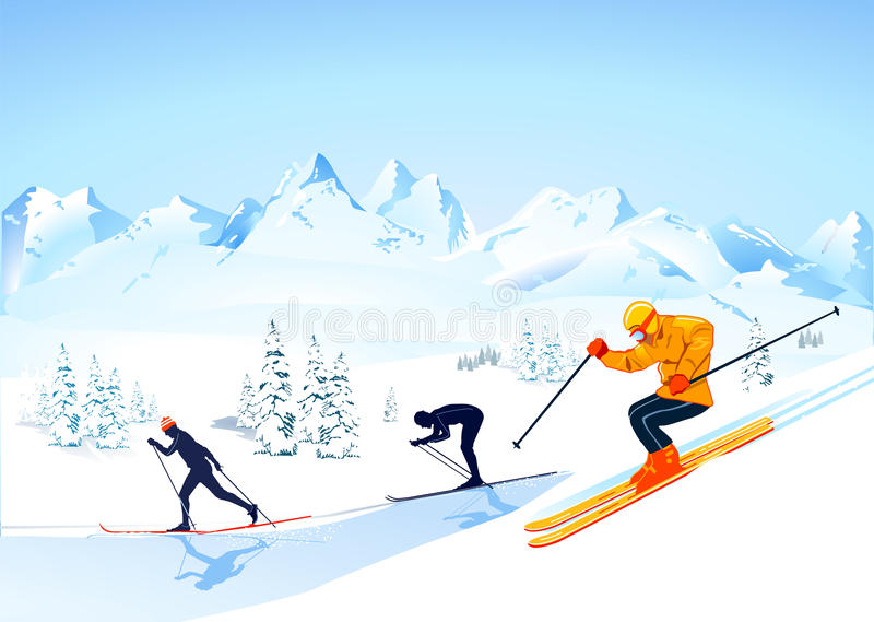 Cross country skiing. An illustration of people cross country skiing