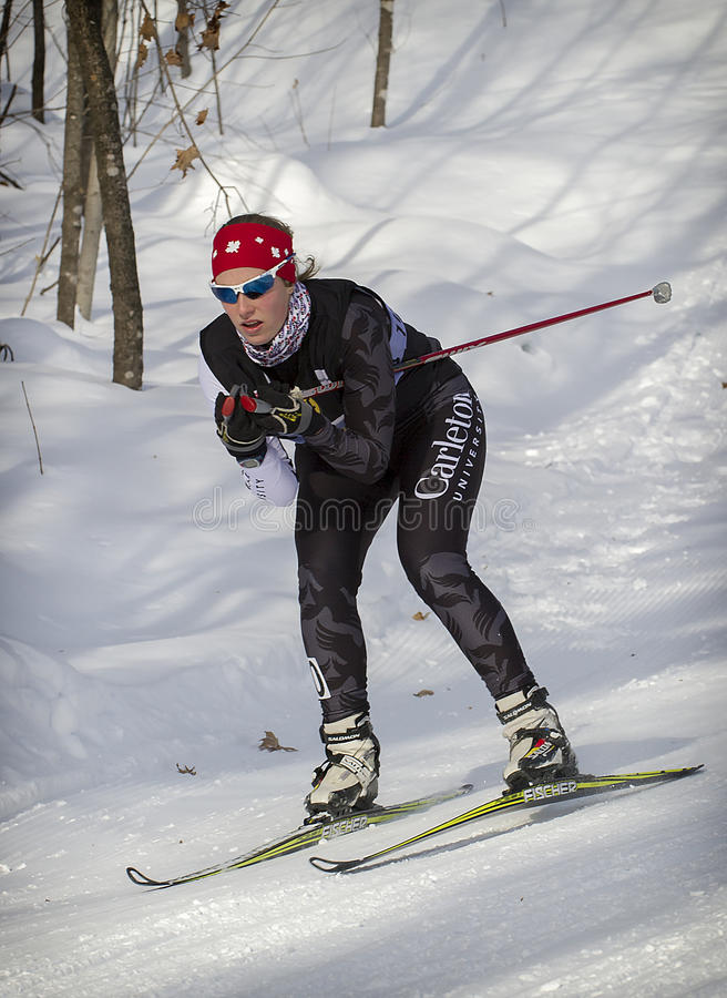 Cross-Country Skiing. Kendra Murray from the Carleton U team during the women's B final of the 1. 4km free sprint at the Canadian Eastern Championships at the royalty free stock photos