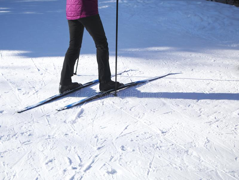 Cross country skiing, close-up stock photo