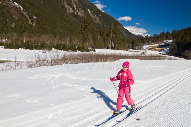 Cross country skiing girl royalty free stock images