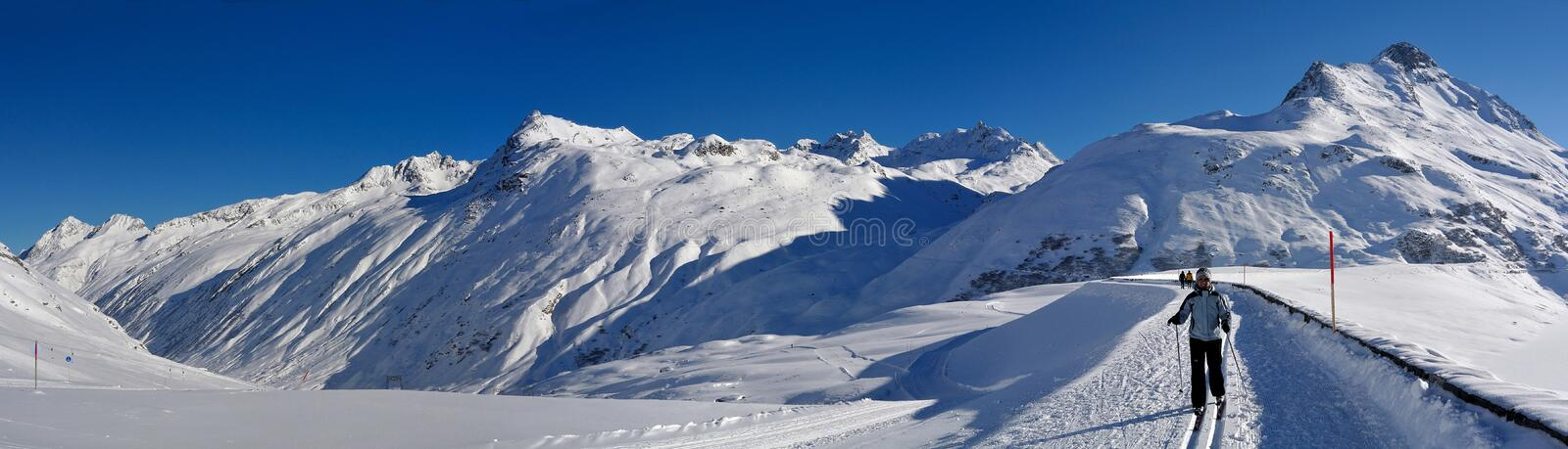 Cross-Country Skiing at Silvretta Stausee, Austria royalty free stock photography