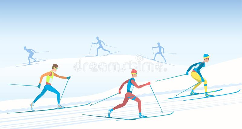 Cross country skiing. stock illustration