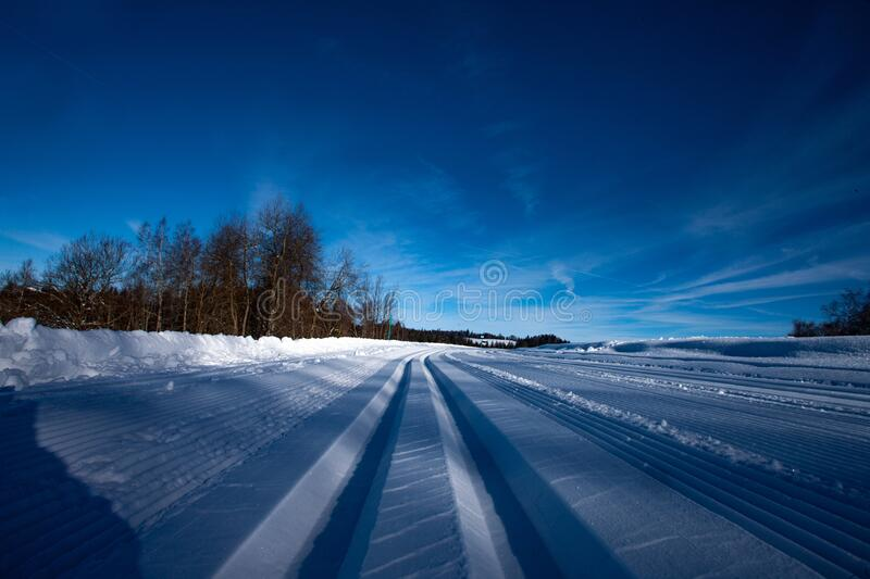 Cross country skiing in Switzerland - Swiss Alps. Tracks in snow royalty free stock image