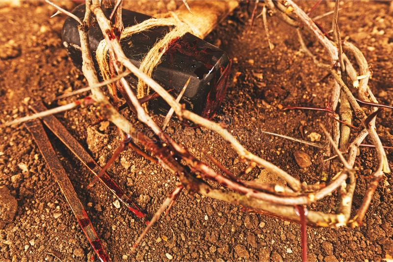 Cross. Shape the crucifixion resurrection crown of thorns nail christianity stock photography
