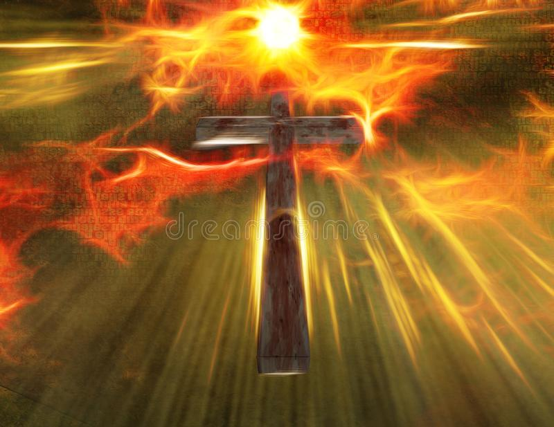 Cross. Hangs in sky. Shining light vector illustration