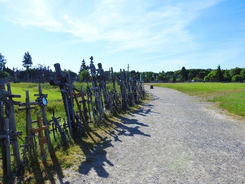 Cross in Cross hill near Siauliai town, Lithuania stock photo