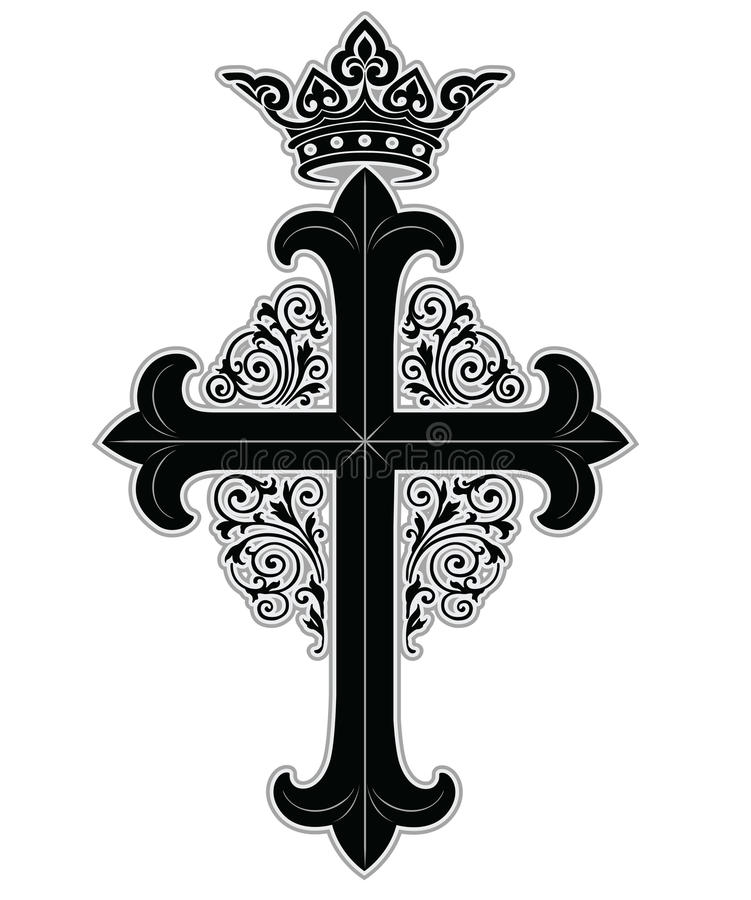 Cross with crown stock illustration