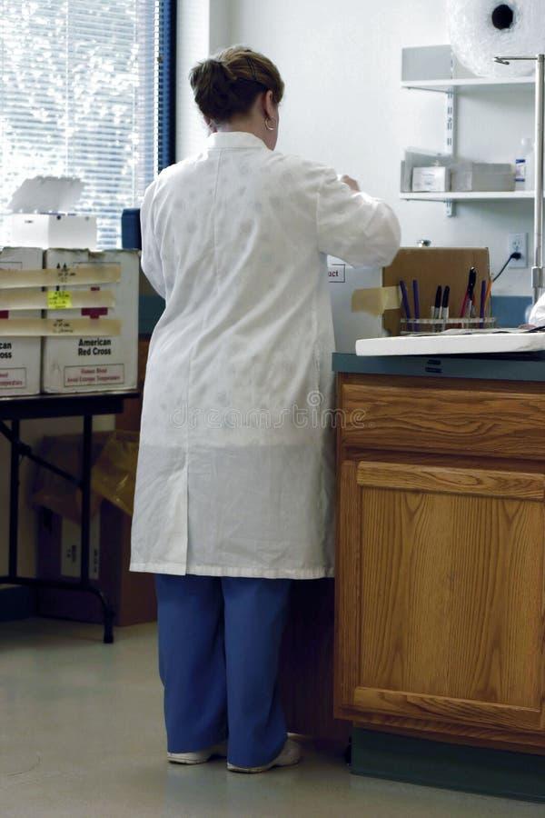 cross czerwonym pracownik laboratorium obraz stock