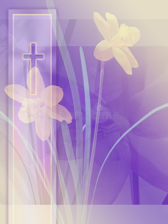Cross and Daffodils stock photography