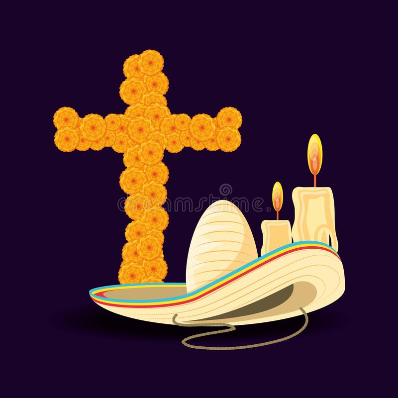 Cross of day the dead with hat mexican. Vector illustration design stock illustration