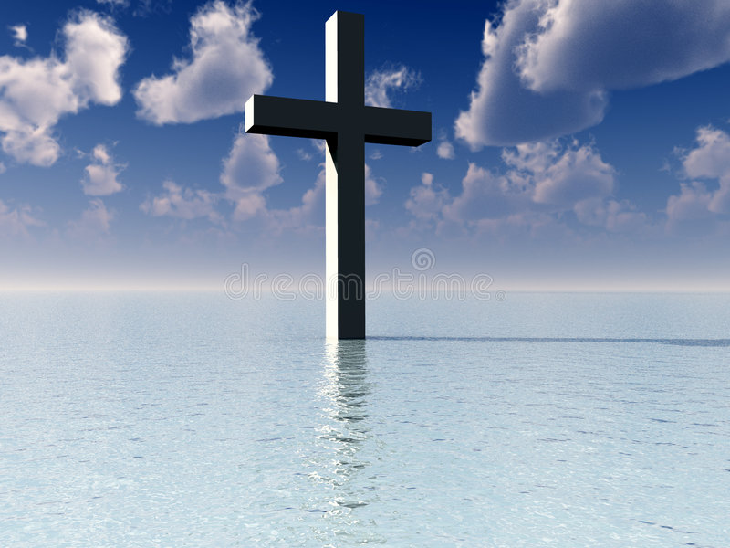 The Cross In Daytime Water 7. A conceptual image of the religious symbolic cross, in the water with a daytime background stock illustration