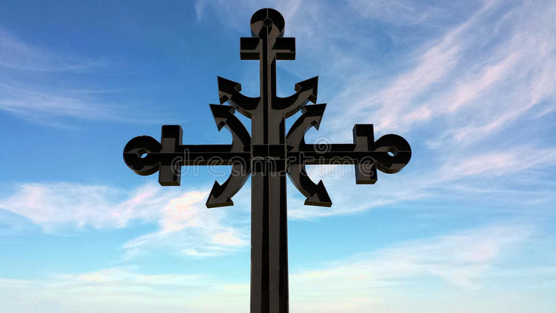 Cross dedicated to the victims of the sea stock photo