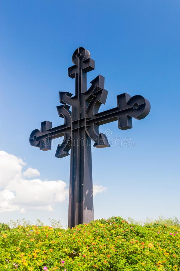 Cross dedicated to Victims who never back from the Sea. Cross in royalty free stock photos